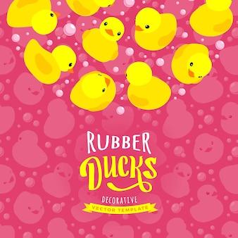 Diseño de decoración vectorial de patos amarillos de goma.