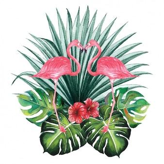 Diseño decorativo de flamencos en acuarela