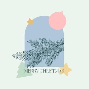 Diseño decorativo de fondo de vector de navidad. rama de abeto con etiqueta boho de formas geométricas de vacaciones. diseño de saludo de temporada contemporánea para portada, decoración de paredes, impresión de ropa, anuncios promocionales de papel tapiz