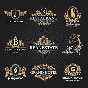 Diseño decorativo del logotipo del monograma y del marco heráldico de la vendimia real