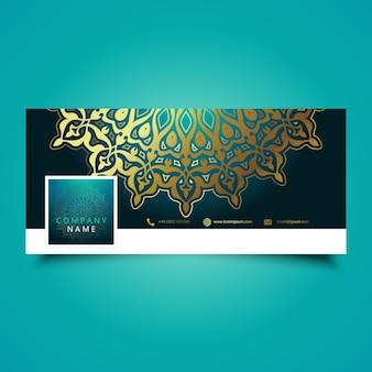 Diseño decorativo de mandala para la cubierta de línea de tiempo de redes sociales