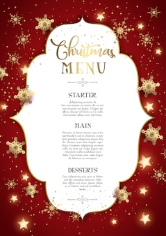 Diseño decorativo de menú navideño