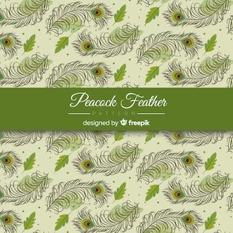 Diseño decorativo de patrón de plumas de pavo real