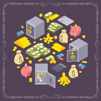 Diseño decorativo redondo realizado con objetos relacionados con la financiación.