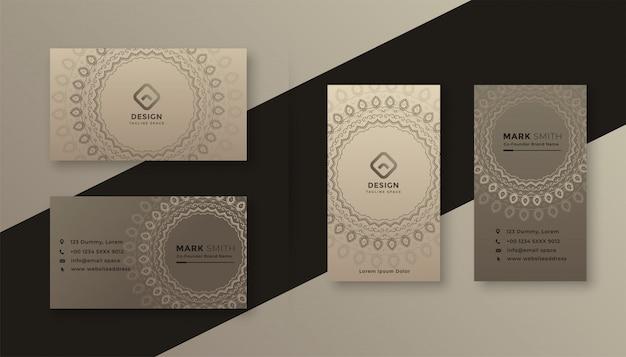 Diseño decorativo de tarjetas de visita en estilo vintage.