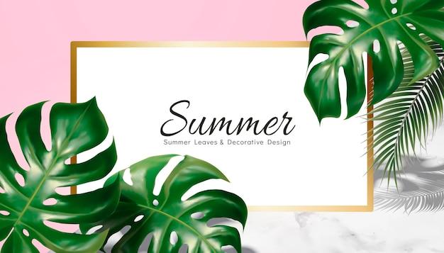 Diseño decorativo de verano con hojas tropicales sobre fondo geométrico, textura de piedra rosa y mármol