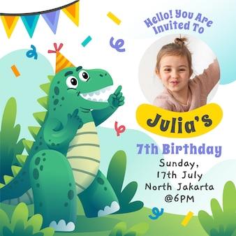 Diseño degradado de invitación de cumpleaños.