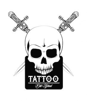 Diseño del dibujo del cráneo del diablo del tatuaje de la vieja escuela