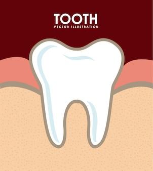 Diseño dental sobre fondo rojo ilustración vectorial