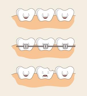 Diseño dental sobre fondo rosa ilustración vectorial
