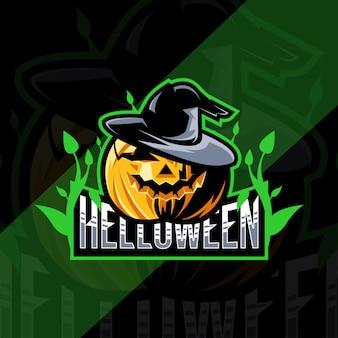 Diseño de deporte de mascota de calabaza de helloween