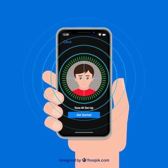 Diseño de desbloqueo de smartphone con cara