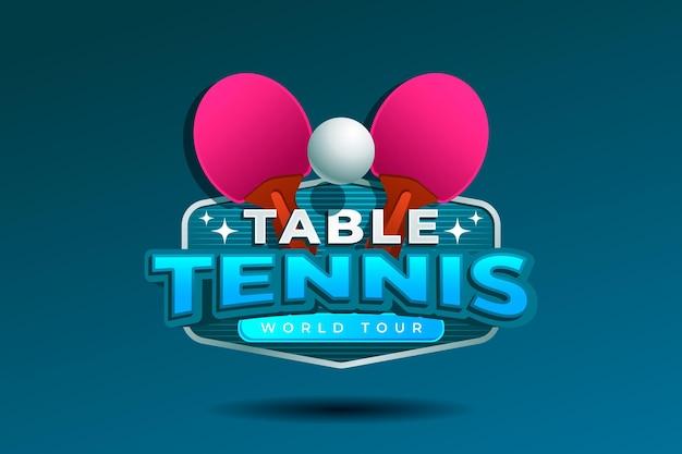 Diseño detallado del logo de tenis de mesa