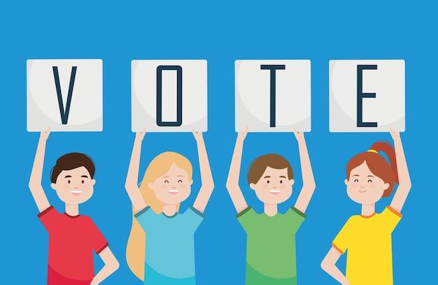 Diseño del día de las elecciones con gente feliz de dibujos animados con pancartas