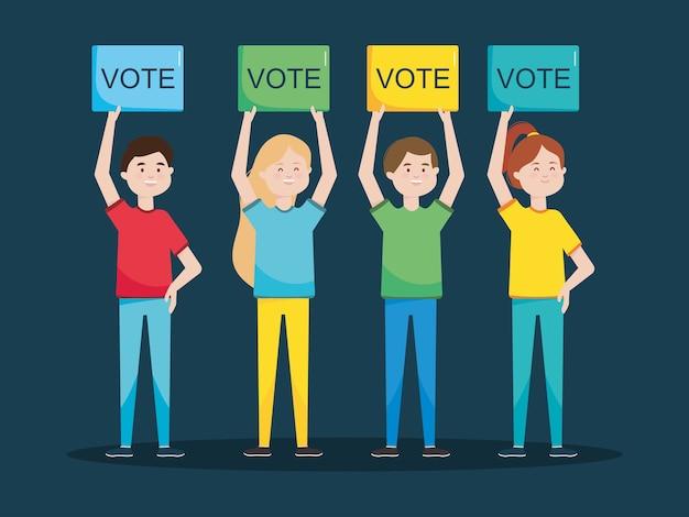 Diseño del día de las elecciones con gente feliz de dibujos animados de pie
