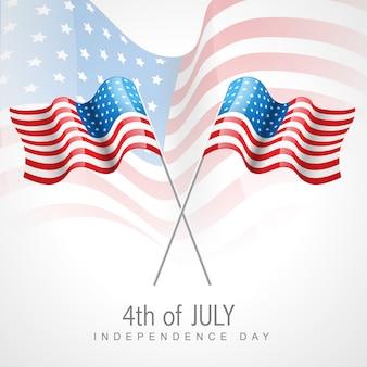 Diseño para el día de la independencia con dos banderas
