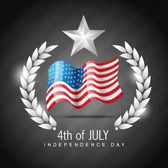 Diseño del día de la independencia con estrella y cresta