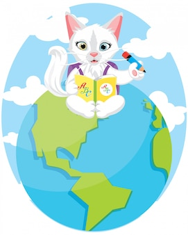 Diseño del día internacional del gato de regreso a la escuela