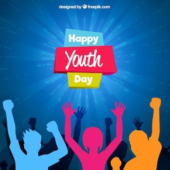 Diseño para el día de la juventud con siluetas coloridas