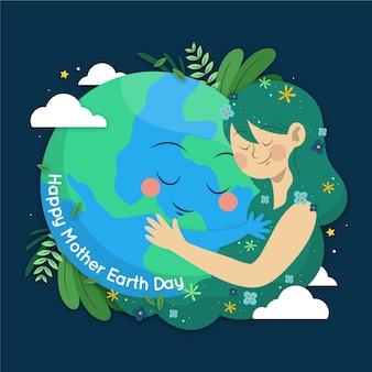 Diseño del día de la madre tierra dibujado a mano
