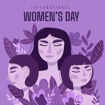 Diseño del día de la mujer dibujado a mano.