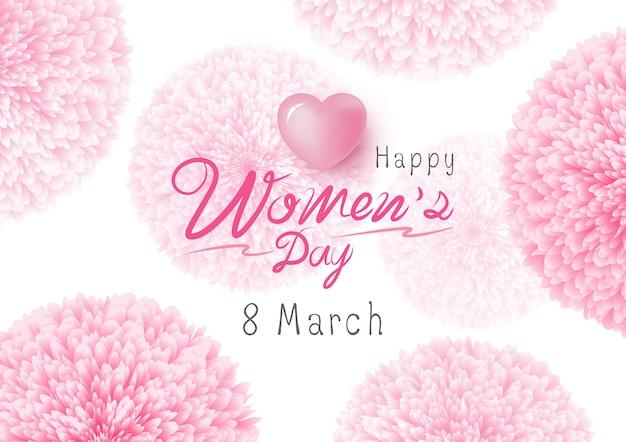 Diseño del día de las mujeres felices de flores rosadas en el fondo blanco