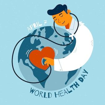 Diseño del día mundial de salud dibujado a mano