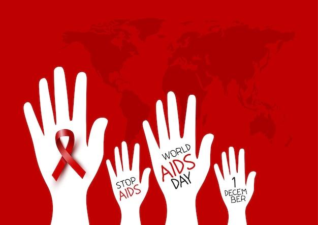 Diseño de día mundial del sida de cinta roja en la mano