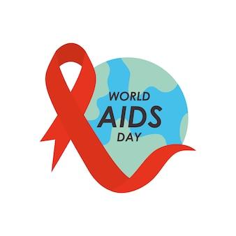 Diseño del día mundial del sida con planeta tierra y cinta roja sobre fondo blanco, estilo plano.