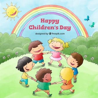 Diseño para el día del niño con niños bailando