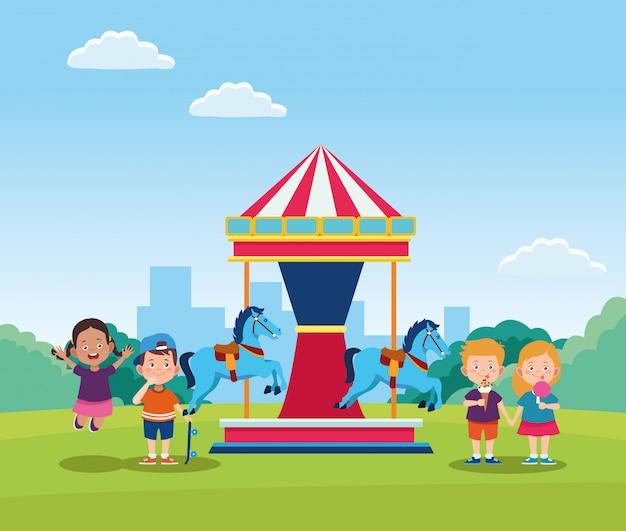 Diseño del día de los niños felices con carrusel de caballos con niños felices de dibujos animados
