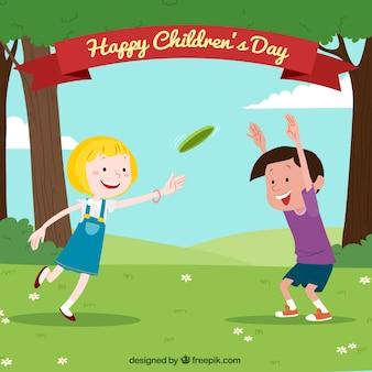 Diseño para el día de los niños con frisbee