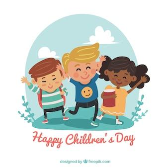 Diseño para el día de los niños con niños bailando