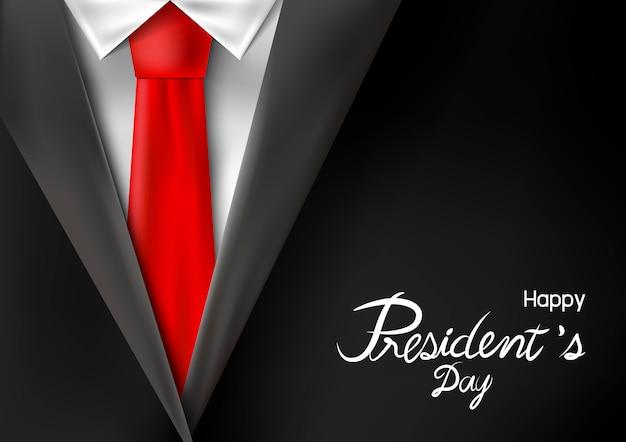 Diseño del día del presidente de traje con corbata roja.