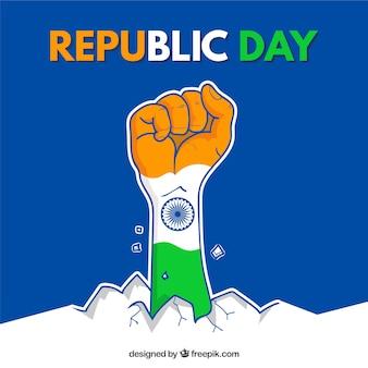Diseño para el día de la república con puño