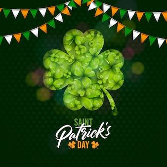 Diseño del día de san patricio con trébol y bandera sobre fondo verde trébol. ilustración de vacaciones de celebración de festival de cerveza irlandesa para tarjeta de felicitación