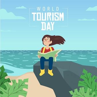 Diseño del día del turismo dibujado a mano.