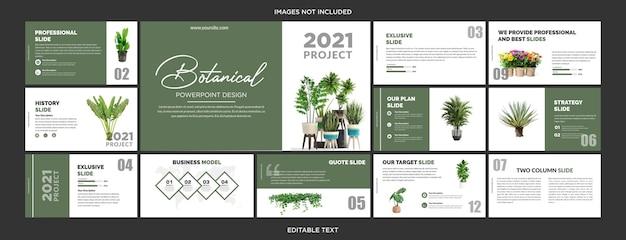 Diseño de diapositivas de presentación botánica multipropósito