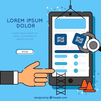 Diseño dibujado a mano de página de destino con smartphone y concepto de construcción