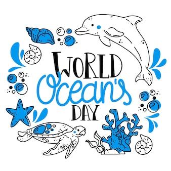 Diseño dibujado del ejemplo del día mundial de los océanos