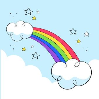 Diseño dibujado a mano del arco iris