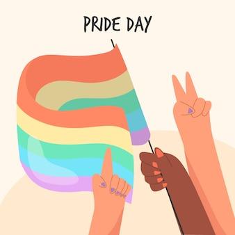 Diseño dibujado a mano de la bandera del día del orgullo