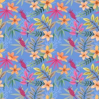 Diseño dibujado mano colorida del vector del modelo de flores.