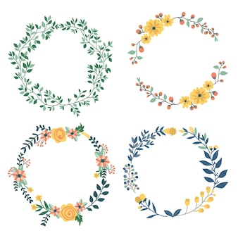Diseño dibujado a mano de conjunto de elementos coloridos coronas florales