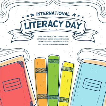 Diseño dibujado a mano día internacional de alfabetización