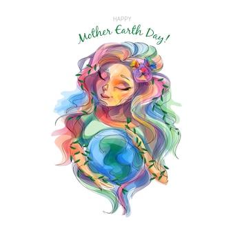 Diseño dibujado a mano día de la madre tierra