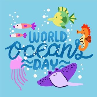 Diseño dibujado a mano del día mundial de los océanos