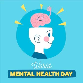 Diseño dibujado a mano del día de la salud mental