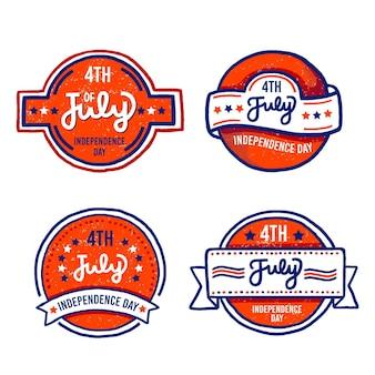 Diseño dibujado a mano etiquetas del 4 de julio