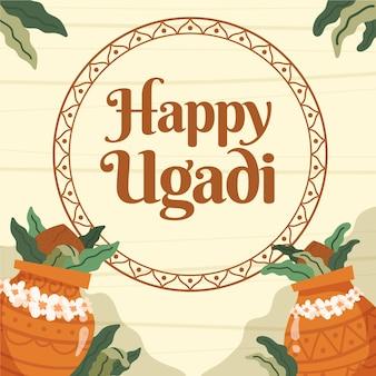 Diseño dibujado a mano para evento ugadi